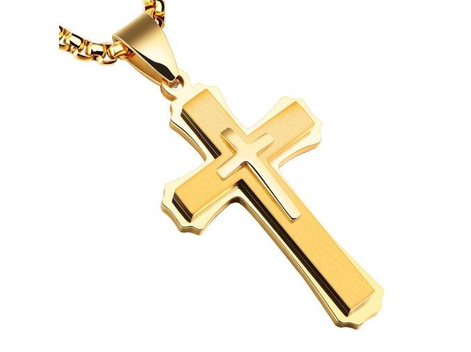 Pánska retiazka s krížom z chirurgickej ocele, zlatá farba