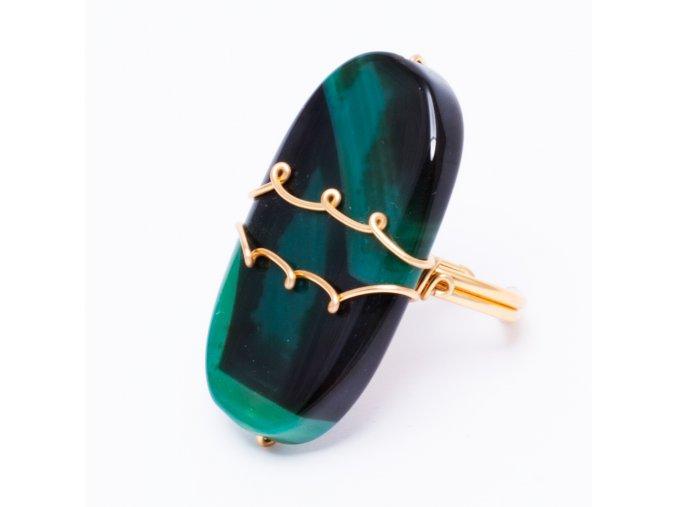 Prsteň so zeleným tieňovaným kameňom, bižutéria