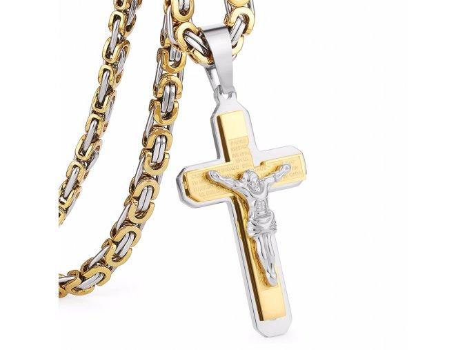 Retiazka s krížom pre muža,chirurgická oceľ, dve farby, modlitba a Ježiš (1)