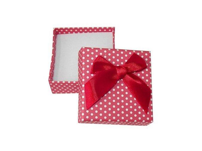 Darčeková krabička na set šperkov, biele bodky a stužka
