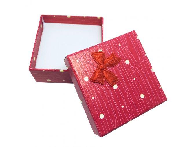 Darčeková krabička červenej farby, žlté bodky a mašľa, jemná potlač
