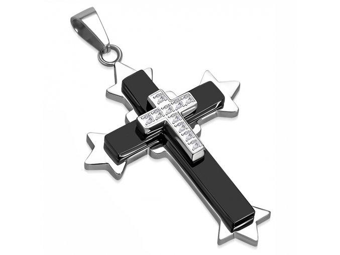Pánsky prívesok na retiazku, kríž so zirkónmi, chirurgická oceľ (1)