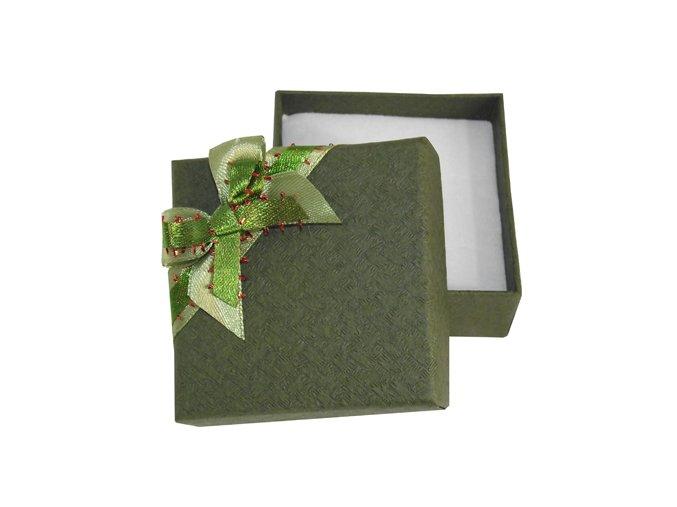 Zelená krabička na šperky, mašľa a jemná potlač