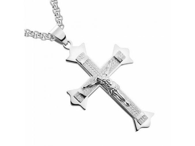 Pánska retiazka s krížom, strieborná farba a pieskovanie, Ježiš