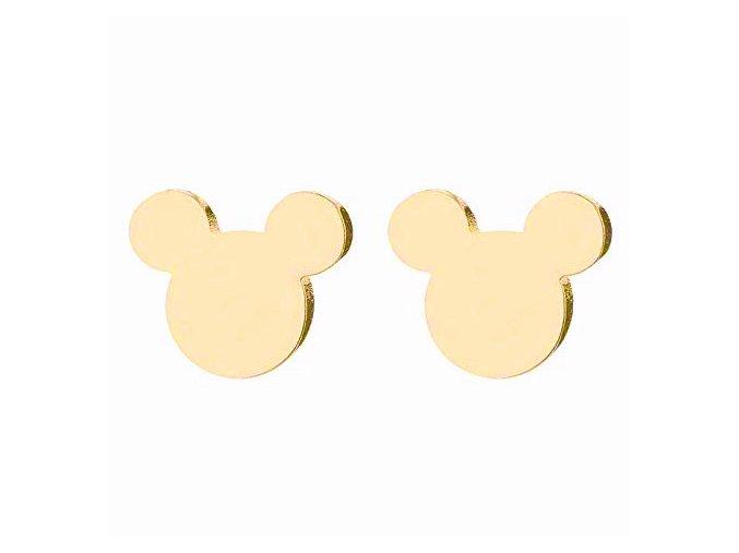 Dámske náušnice z chirurgickej ocele, Mickey Mouse zlatej farby