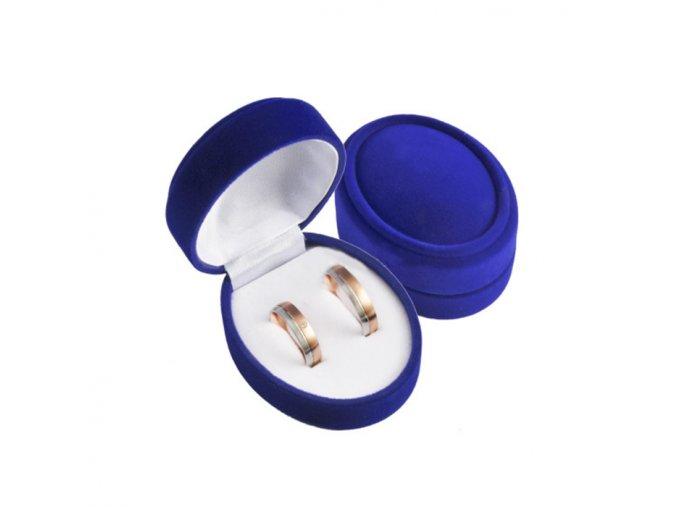 Zamatové darčekové balenie modrej farby na svadobné obrúčky