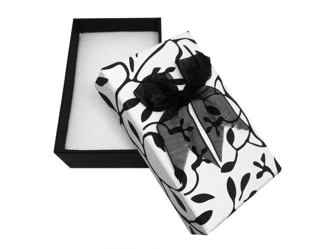Darčekové balenie na sadu šperkov, čierne listy a mašľa