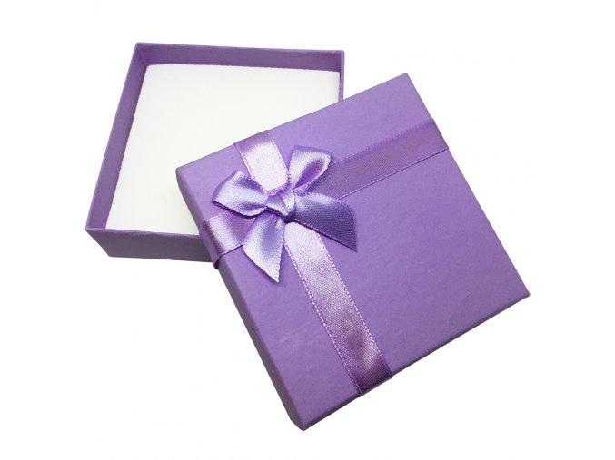 Darčeková krabička na set šperkov, fialová kriedová farba, mašľa