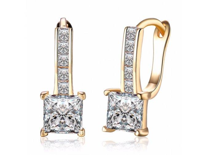 Zirkónové náušnice pre ženu, štvorcový kamienok, zlatá farba bižutéria (1)