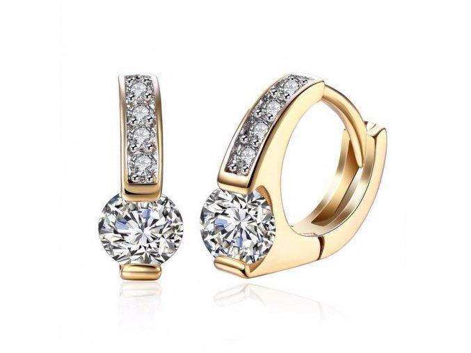 Drobné zirkónové náušnice, číry kamienok, zlatá farba bižutéria (1)