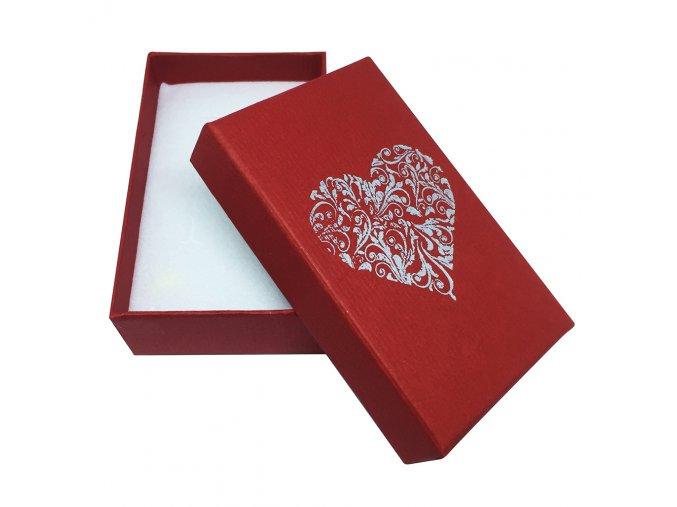 Darčeková krabička na sadu šperkov, ornamentové srdce striebornej farby