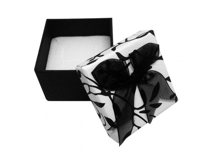 Darčekové balenie na náušnice, čierne listy a mašľa