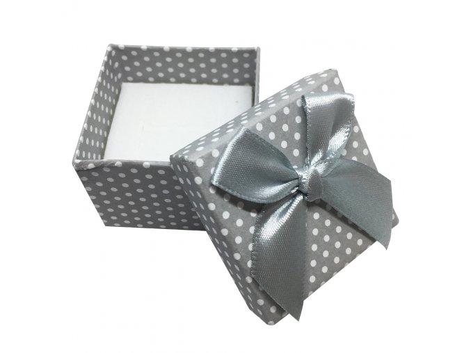 Darčeková krabička na náušnice, biele bodky a mašľa