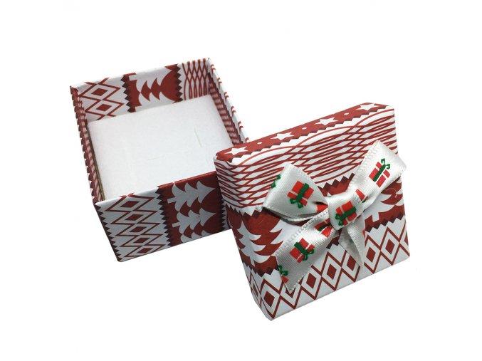 Darčeková krabička na náušnice, vianočný motív a mašľa