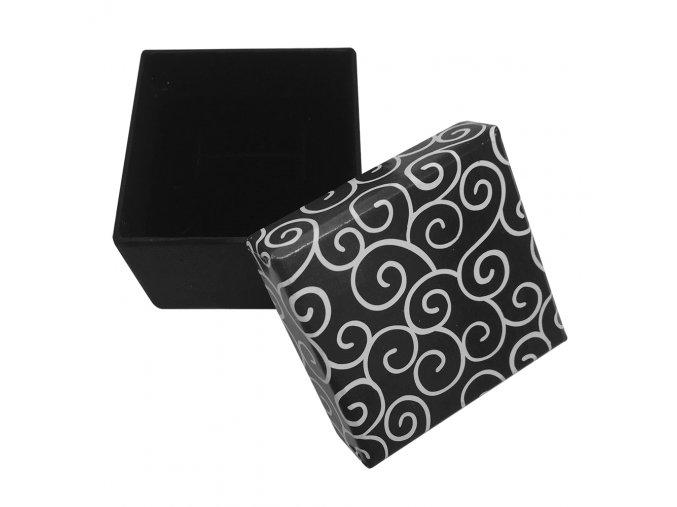 Darčeková krabička na náušnice, čierna farba a biely ornament