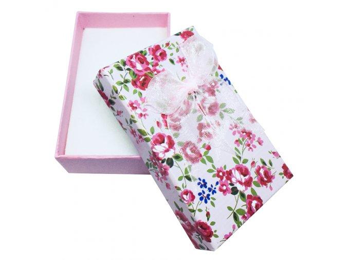 Darčeková krabička na set šperkov, kvietky, púdrový rúž a mašľa