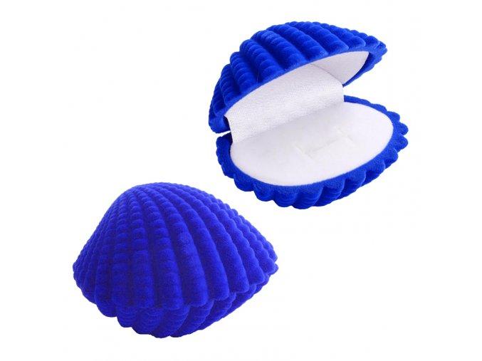 Zamatová krabička na prsteň, mušľa kráľovský modrej farby (1)