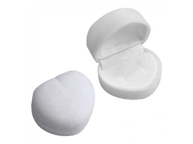 Zamatová darčeková krabička na prsteň, biele srdce (1)