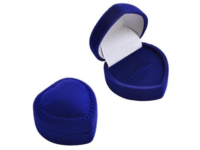 Zamatová darčeková krabičla na prsteň, kráľovský modrá farba (1)
