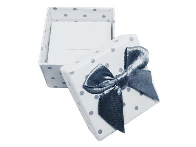 Darčeková krabička na prsteň, šedé bodky a mašľa
