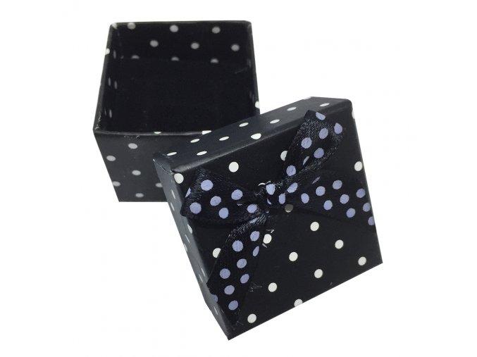 Čierna darčeková krabička na prsteň, biele bodky a mašľa