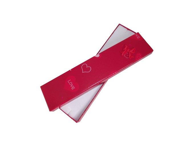 """Červená krabička na náramok, srdce a nápis """"LOVE"""", mašľa"""