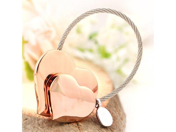 Kľúčenka dvojíte srdce a lanko, ružovo zlatá farba