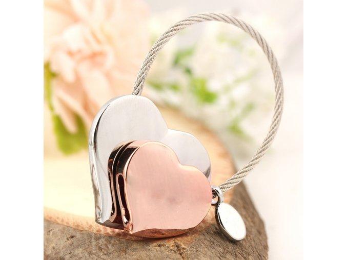 Kľúčenka dvojíte srdce a lanko, ružovo zlatá a strieborná farba