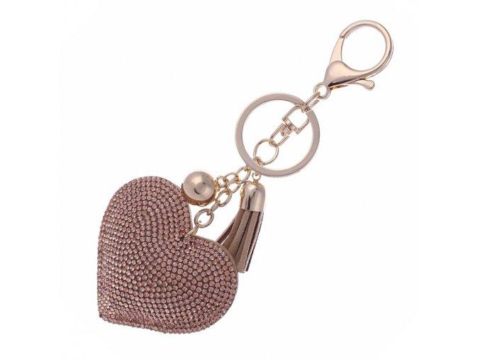 Prívesok na kabelku, béžové srdce a kamienky, strapec (1)