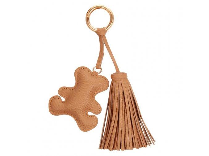 Béžový prívesok na kabelku, kožený macko a strapec (1)