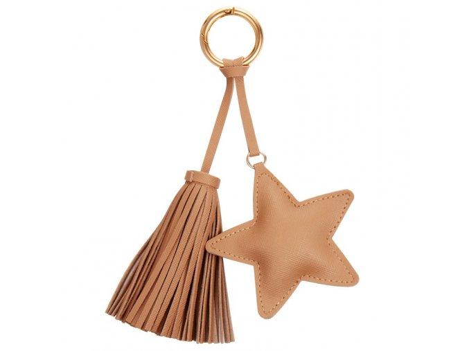 Béžový prívesok na kabelku, kožená hviezda a strapec (1)