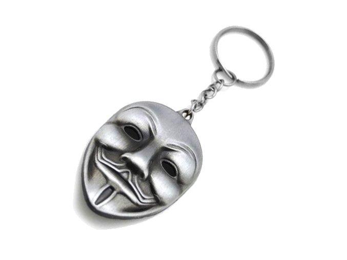 Prívesok na kľúče, patinovaná maska Anonymous