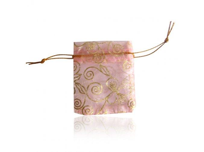 Darčekové zaťahovacie vrecúško, ružová farba a ruže