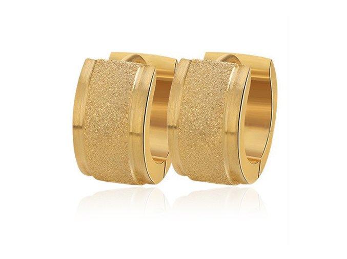 Dámske náušnice z chirurgickej ocele, pieskovaný pás, zlatá farba (1)