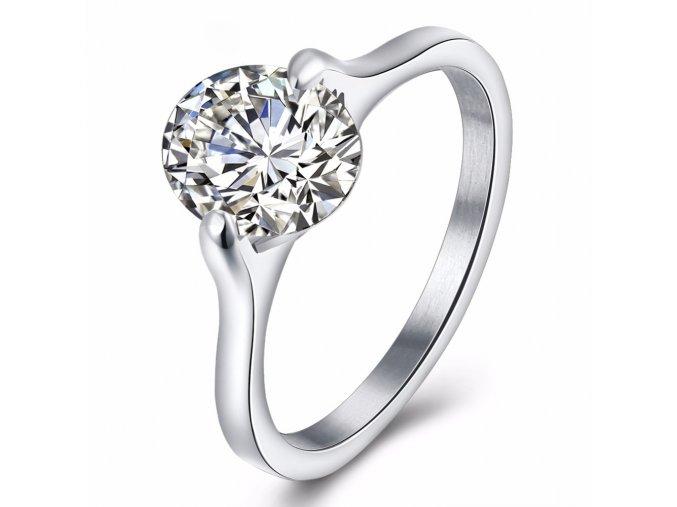 Zásnubný prsteň z ocele striebornej farby, oválny kamienok Solitéy (1)