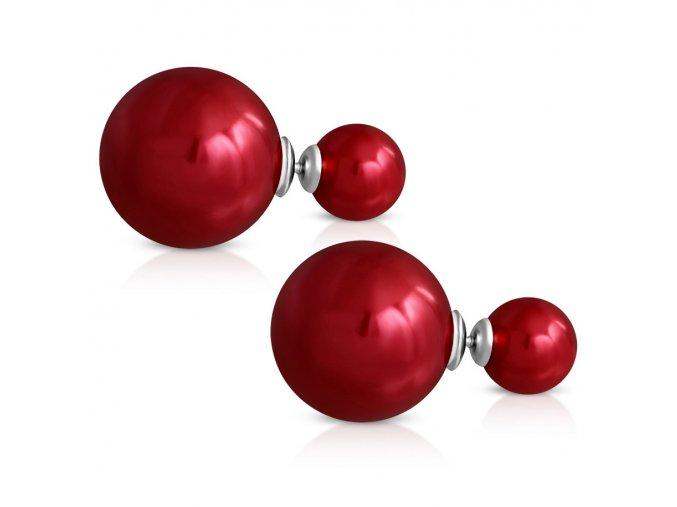 Dvojité guličkové náušnice, červená perleťová farba, oceľ