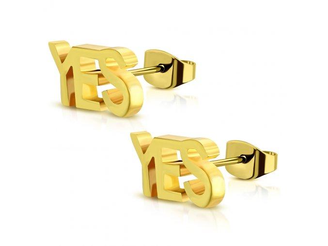 """Puzetové náušnice pre ženu zlatej farby, oceľ, nápis """"YES"""""""