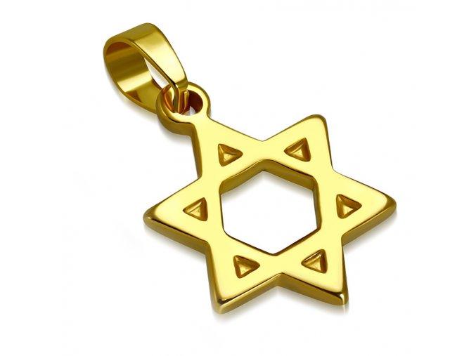 Prívesok Dávidova hviezda na retiazku, chirurgická oceľ zlatej farby