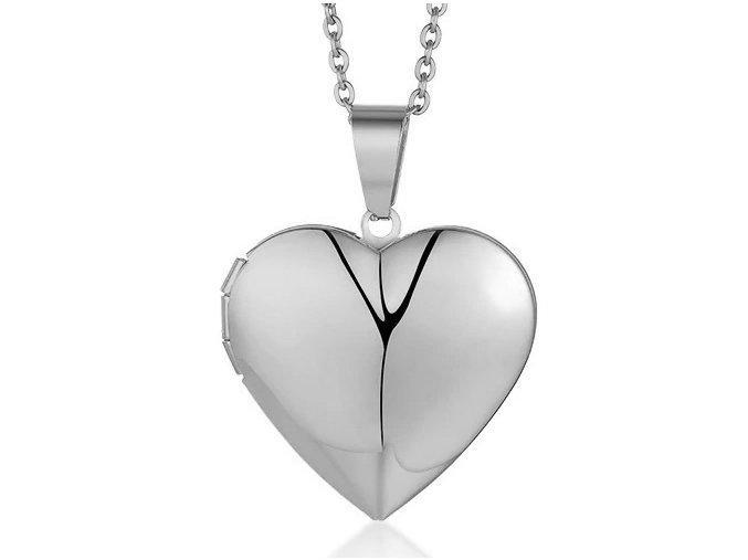 Medailón na fotky, 3D srdce z chirurgickej ocele, strieborná farba01