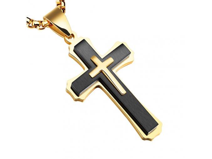 Pánska retiazka s krížom z chirurgickej ocele, zlatá a čierna farba