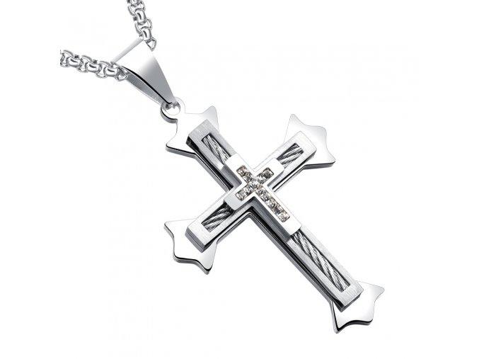 Pánska retiazka s krížom z ocele, číre zirkóny, lanko a strieborná farba (1)