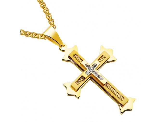 Pánska retiazka s krížom z ocele, číre zirkóny, lanko a zlatá farba