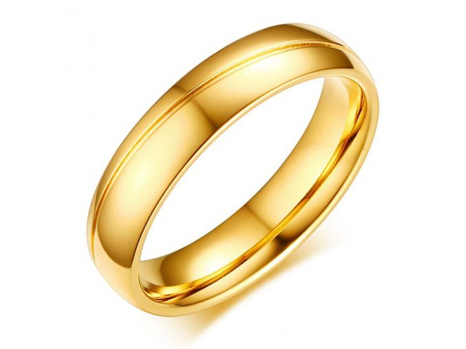 Pánska svadobná obrúčka, lesklá oceľ zlatej farby, ryha (5)