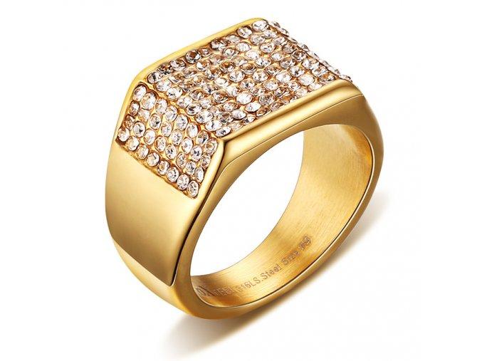 Masívny prsteň z chirurgickej ocele s čírymi zirkónmi, zlatá farba (1)
