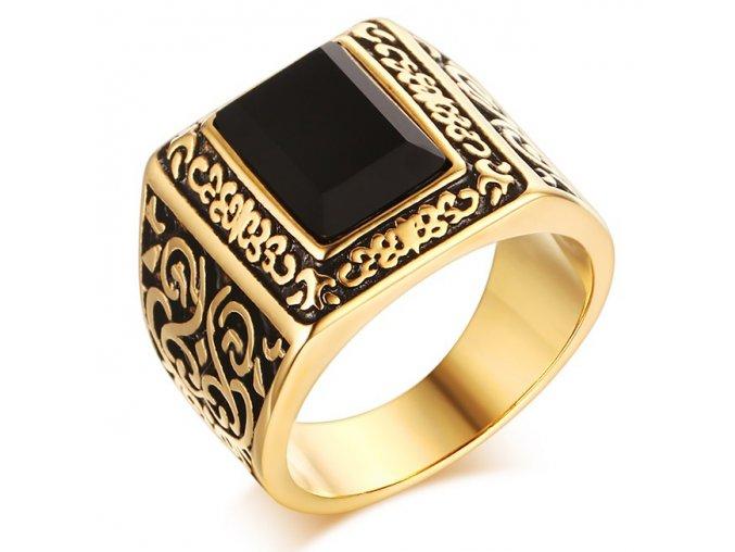 Pečatný prsteň pre muža s čiernym kamienkom, oceľ zlatej farby, patinovanie (1)