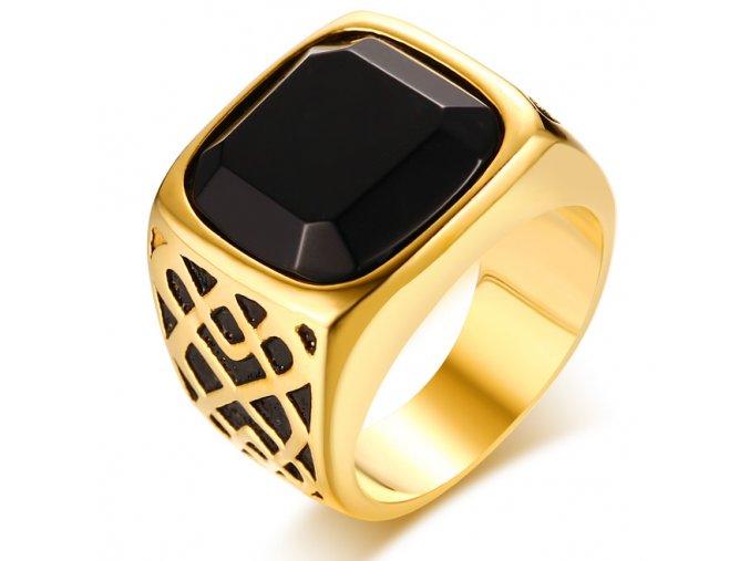 Pečatný prsteň pre muža s čiernym kamienkom, oceľ zlatej farby, gravírovanie (1)