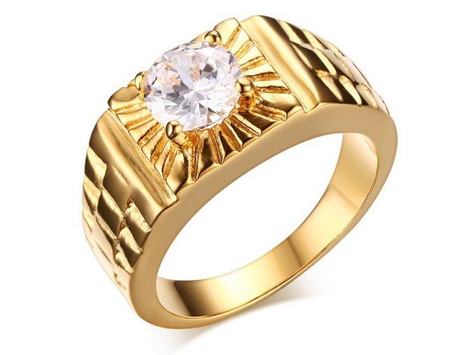 Pečatný prsteň z chirurgickej ocele so zirkónom, zlatá farba a gravírovanie (1)