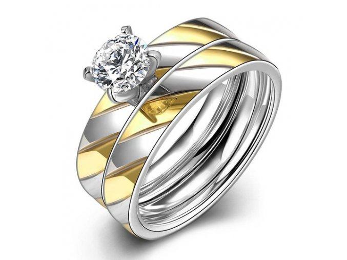 Dvojitý dámsky prsteň z ocele so zirkónom, zárezy, zlatá a strieborná farba (1)