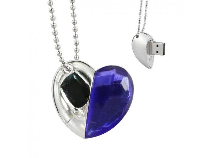 USB šperk pre ženu, náhrdelník srdce s modrým kamienkom 8 GB (2)