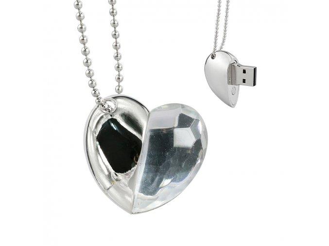 USB šperk pre ženu, náhrdelník srdce s čírym kamienkom 8 GB (2)